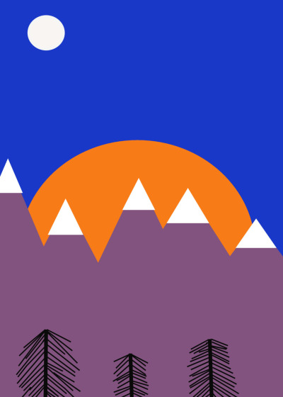 Black Lines collection. Mountains. Sunset. 2011
