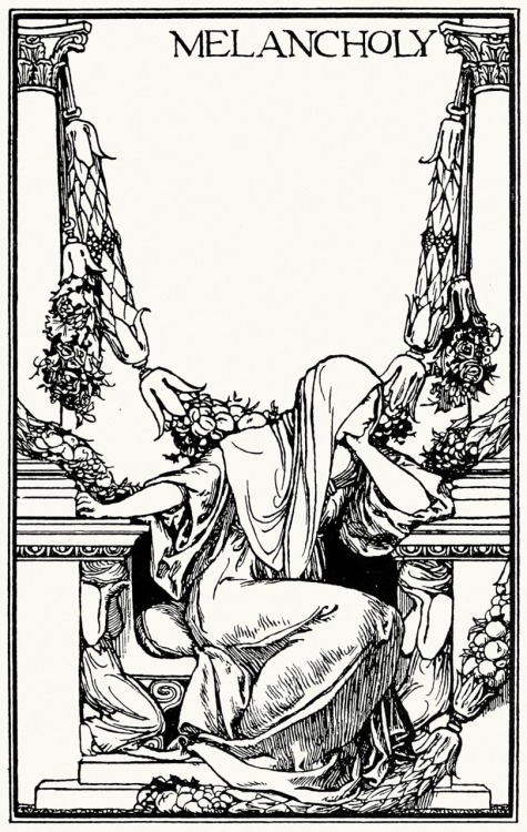 oldbookillustrations:  Ay, in the very temple of delight Veil'd Melancholy has her sovran shrine. Robert Anning Bell, from Poems by John Keats, London, New York, 1897. (Source: archive.org)