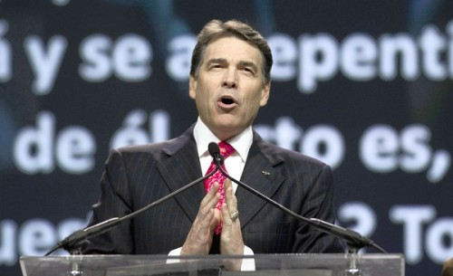 christiannightmares:  'Evangelicals vet Gov. Rick Perry at Texas retreat' (To read the story, click image or here; Found at The Stranger)  It's a good thing, with Texas literally burning, that our presidential candidate and governor shows such faith that he's taking the time to make sure the evangelical right wing knows that the gays and those who need abortions won't have rights.