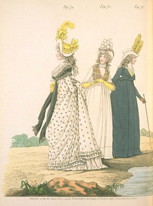 Gallery of Fashion, November 1795.  So much to love in this fashion plate!  First of all, the colors all go so well together.  Yellow and navy- swoon!  Amazing hats, beautiful print on the first gown, and do I spy yet another blue riding habit?  I think so!