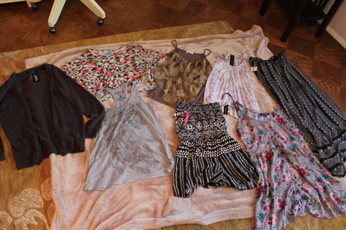 vermiciousknid-:   GIVEAWAY!!!! I am giving away some of the clothes I have NEVER WORN. 3 of them have tags still on, and the others I have literally never worn. Here are the rules: Reblog photo as much as you want (just don't blame me if you loose followers :)). LIKES DO NOT COUNT I will randomly pick a winner on Saturday, September 10th. I will ship anywhere in U.S (U.S only) You must be following me: http://blahblahblahhhhblahginglikeyaa.tumblr.com/ ** most of the clothes are size Large, but anyone could wear them if they wanted them to be a bit big.  CLOTHES CLOCKWISE FROM UPPER LEFT: Forever 21 Grey Cardigan WITH TAGS, NEVER WORN. (size large) Nordstrom B.P floral crop- top NEVER WORN, without tags. (size large, but it is a crop top so it is small) Lush Brand. brown with tiers tank. (size large) Pink Zone Floral Zipper top. (size large) Tilly's Maxi skirt. NEW WITH TAGS, NEVER WORN. (large, but fits like medium) Forever 21 Floral Dress. (size large) Target Mossimo Romper. NEW WITH TAGS. NEVER WORN. (size medium) Target Feather Tank top. (size large)