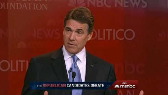jvbrewer:  Perry on immigration: We need boots on the ground and Predator drones to secure the border with Mexico.
