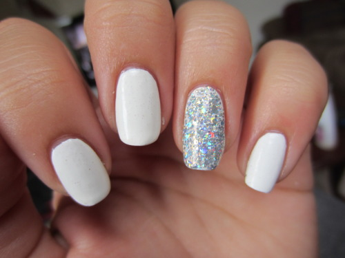 "sally hansen ""whirlwind white"" with opi ""serving up sparkle"" this was my labor day manicure … a big punch in the face to anyone who takes the rule ""you can't wear white after labor day"" seriously"