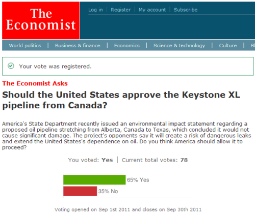 The Economist asks: Should the Keystone XL pipeline be approved?