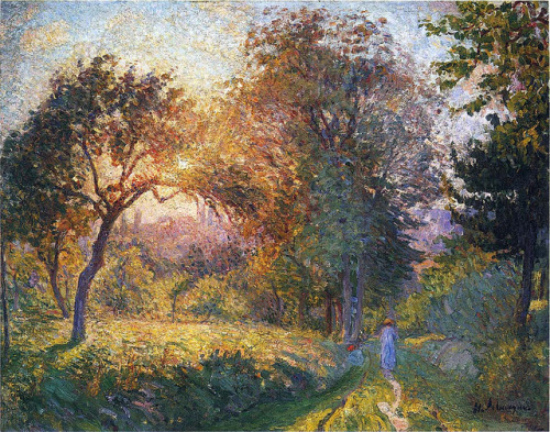 23rd-block:  Henri Lebasque, Girl in the Forest at Sunset. 1898