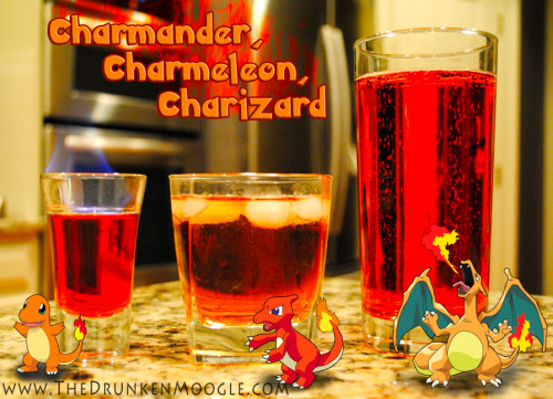 justinrampage:  The Drunken Moogle: Charmander, Charmeleon, Charizard (Pokemon Cocktails) Ingedients:Charmander-1 splash of grenadine1 oz Fireball Cinnamon Whiskey.5 oz Bacardi 151 Charmeleon-1 spash of grenadine,1 splash of scotch1 oz Fireball Cinnamon WhiskeyFill with ginger ale Charizard- 2 oz Fireball Cinnamon Whiskey2 splashes of grenadine2 splash of scotch1.5 ounces Bacardi 151Fill with ginger ale  Directions: For the Charmander shot, pour a slash of grenadine into the bottom of a shot glass. Add the Fireball, then top with the Bacardi 151. Light it on fire, then extinguish before drinking.For the Charmeleon cocktail, mix all the alcoholic ingredients and then pour over ice in a lowball glass. Top with ginger ale.   For the Charizard drink, Mix all of the alcoholic ingredients, pour into a highball glass and top with ginger ale. If you plan on lighting the Charizard on fire, add the Bacardi 151 last, after the ginger ale, on top of everything else. Check out more tasty / video game Drunken Moogle drinks here. Drink created and photographed by The Drunken Moogle (Twitter) Via: thedrunkenmoogle