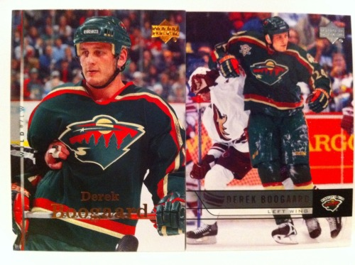 A pair of Derek Boogaard cards from his time with the Minnesota Wild. This is my last picture upload tonight. What an awful summer.