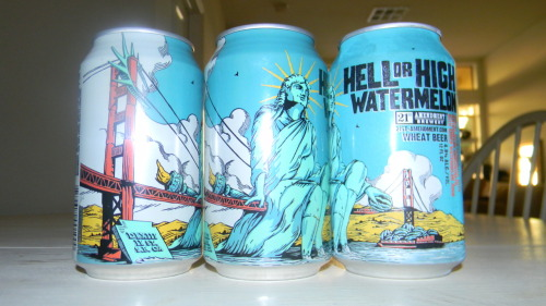A BEER-VALUATION: 21st Amendment's Hell or High Watermelon Wheat Beer (SF) San Francisco's 21st Amendment Brewery (right next to the best ballpark in America) takes pride in crafting not only the top beers around but also the coolest looking ones. Hell or High Watermelon, 21st's summer seasonal brew is truly summer-in-a-can. It's a crisp, refreshing beer and really unlike anything I've ever had. The watermelon flavor is distinct but not overly sweet and it still tastes like a beer. I could be a bit biased as my first taste was on a yacht in McCovey Cove (HOME OF THE WORLD CHAMPION SF GIANTS) + I love watermelon, but this is has been one of my favorite beers this summer. It pairs perfectly with a BBQ and is something to grab at your local [Northern California] grocery before summer's gone.  VERDICT: 4/5