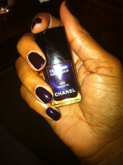 Chanel Vendetta. Season: Fall 2009 Shade: Deep Eggplant Formula: Shimmer Top Coat: CND Air Dry