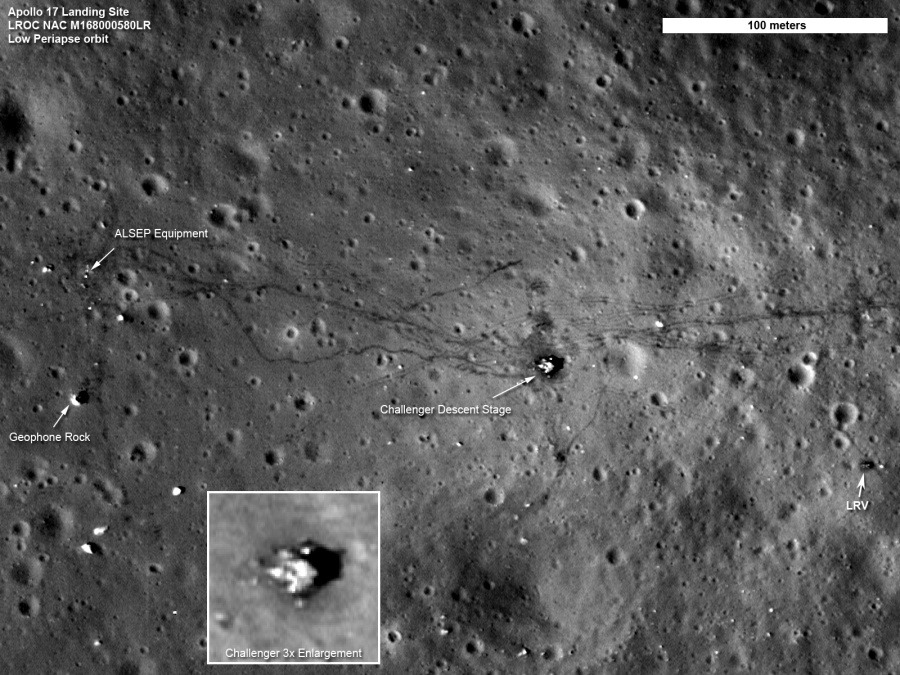 Apollo 17 Site: A Sharper View Explanation: This view of the Apollo 17 landing site in the Taurus-Littrow valley was captured last month by the Lunar Reconnaissance Orbiter (LRO), the sharpest ever recorded from space. The high resolution image data was taken during a period when LRO's orbit was modified to create a close approach of about 22 kilometers as it passed over some of the Apollo landing sites. That altitude corresponds to only about twice the height of a commercial airline flight over planet Earth. Labeled in this image are Apollo 17 lunar lander Challenger's descent stage (inset), the lunar rover (LRV) at its final parking spot, and the Apollo Lunar Surface Experiments Package (ALSEP) left to monitor the Moon's environment and interior. Clear, dual lunar rover tracks and the foot trails left by astronauts Eugene Cernan and Harrison Schmitt, the last to walk on the lunar surface, are also easily visible at the Apollo 17 site. Credit: NASA / GSFC / Arizona State Univ. / Lunar Reconnaissance Orbiter