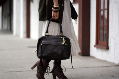 LOVE this look… peasant skirt & lace-up ankle boots worn with army boyfriend jacket & leather briefcase bag. Of course we heart the bangle love as well. xo