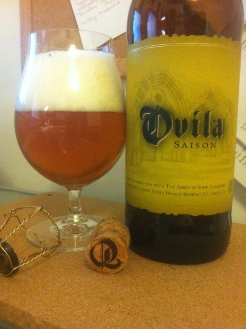 Sierra Nevada and The Abbey of New Clairvaux's Ovila Saison. A 3 of 4. Good amount of carbonation, which nicely makes the different spice notes come forward easily. Slightly bready with a nice slightly citrusy and fresh back. Finishes slightly dry and clean. Very drinkable, and a great classic saison - I have no complaints. If someone asked me what a saison was - or for an example of the style - I'd hand them this bottle.