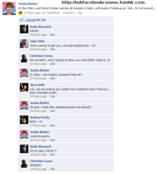 bvbfacebookconvos:  Suggested by strangexblasphemy.