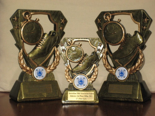 My trophies from a recent track meet. 1st place in 400m & 100m, 3rd place in 800m :D