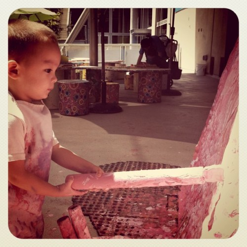 West getting his art on :) ~ painting the big whale at the San Diego children's museum (taken with instagram)