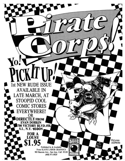 Promotional ad for Pirate Corp$ Special by Evan Dorkin, 1989.
