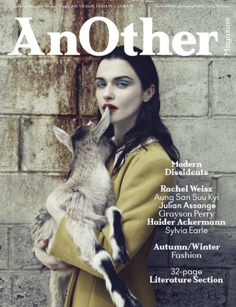 The cover of AnOther Magazine AW11 featuring the divine Rachel Weisz in mustard Miu Miu, clutching a baby goat.  — A BABY GOAT. A FRIGGIN' BABY GOAT. AND SHE'S ABOUT TO NIBBLE THE EAR OF THAT FRIGGIN' BABY GOAT. #everythingsbeendonenowidontwanttothinkanymore