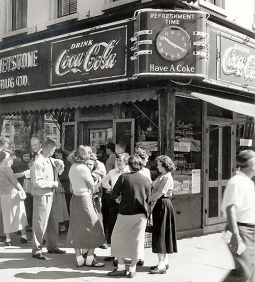 theniftyfifties:  Students outside the soda fountain, 1950s.