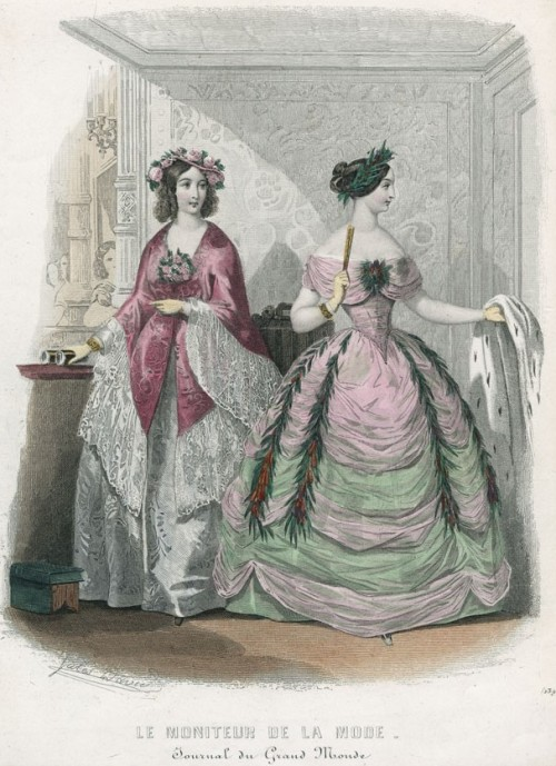 Moniteur de la Mode, February 1847. How gorgeous is that pink and green ballgown?  She looks like she's wrapped in cotton candy, but in a less sticky way!