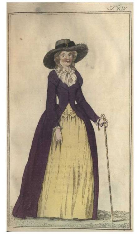 Journal des Luxus, 1786. Guh- I love this.  These simple masculine fashions are so appealing to me!  Her teeny-tiny buttoned double breasted waistcoat is making me drool…AND!  A fuzzy beaver-fur hat!