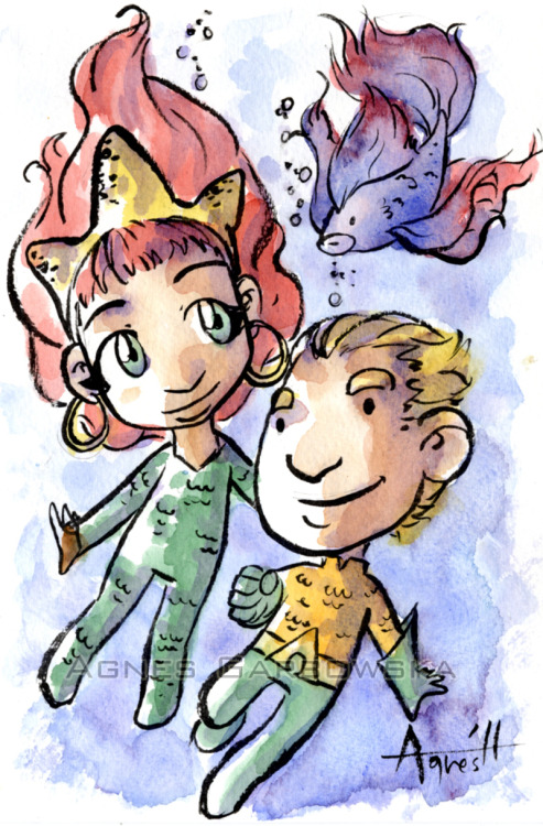 keiren-smith:  Mera and Aquaman by ~Evilwabbit ALWAYS the greatest stuff from Agnes Garbowska.  :) Fishie!! :)