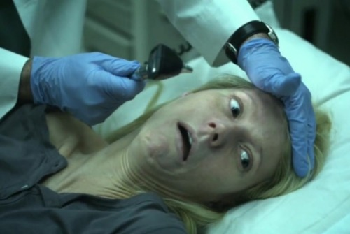 "Contagion, the Stephen Soderbergh–directed film that debuted at the Venice Film Festival last week and hits theaters on Friday, tracks a deadly bird-flu-like virus as it plagues (or kills) a number of very famous people. From the looks of the trailer, the mysterious virus eventually infects most of the globe, but none (as far as we can tell) suffer a pasty, seizure-y death quite like that of Gwyneth Paltrow. Not only does Gwyneth die right there in the trailer, she dies ugly: We're talking bug-eyes, visible sweat, and maybe a hint of a floppy tongue. (Watch closely, or maybe in slow-mo; You can see it start to wag.) Even more humiliating, her gross Death Face is being used on the movie's posters to up the ""scare factor."" The rest of the all-star cast get Terrified Glamour Shots, and Paltrow is stuck on the bottom left, gasping her last, unpretty breath. It's all extremely unflattering. But it might also be very smart, yet another stop on the briskly moving ""Gwyneth Paltrow has a sense of humor about herself"" train.  First of all, I still don't understand why people have a problem with her.  It doesn't change the fact that this movie is going to be awesome. (Not to mention that photo deserves an automatic reblog)"