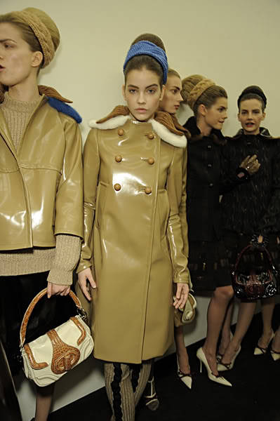 backstage at Prada