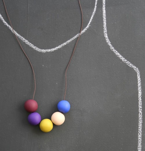 Love how these necklaces are displayed. Chalk outlines are normally a morbid idea, yet these are just so cute! -Cory U