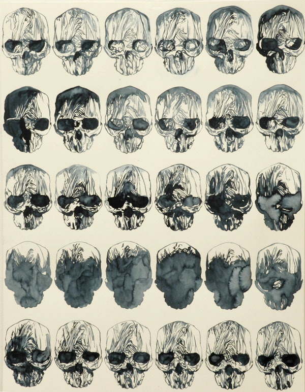 Stephan Balleux. Bullet Proofs Anatomy. Two Lights, 2007. Watercolor on paper, 65 x 50 cm.