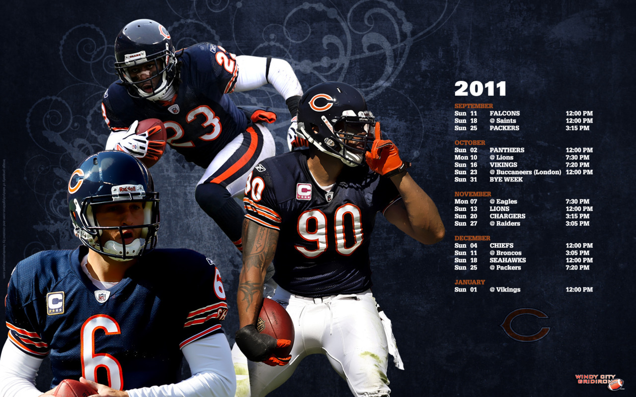 """Chicago Bears 2011 Season Schedule Desktop Wallpaper"" 