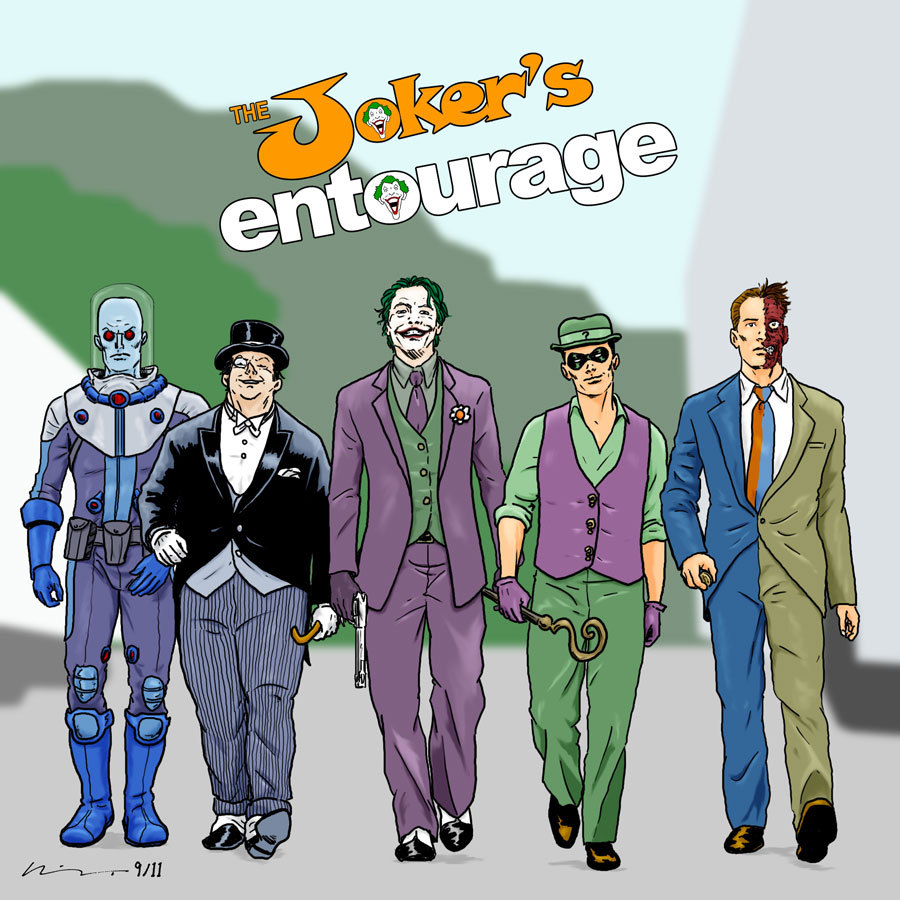 fumettidccomics:  sequentialmadness:  The Joker's Entourage: Another mash-up that could have gone terribly wrong. And maybe it did. But I like it.  .