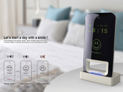 heyfranco:  lightingstrike:  toocooltobehipster:  An alarm clock which will only switch off if you smile at it. A genius and potentially catastrophically annoying concept by  Kim Jungwoo.  I can imagine how horrifying my SHUT UP, ALARM CLOCK smiles would be. HAHA. I like this idea.  I love this ideaaa!!!
