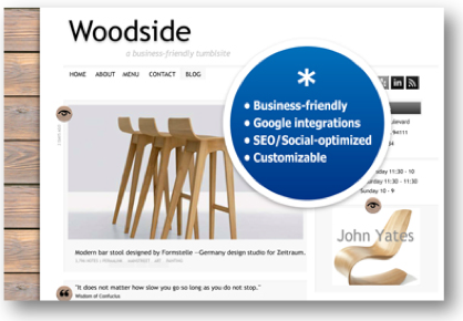We're happy to announce a new theme, Woodside. Some cool features of Woodside: Ability to upload your logo or an image for the header (or use text). Widget-friendly: You can easily add free & premium widgets to make your blog stand out. Lots of social media integrations! Install Woodside here.