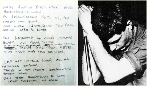 Love Will Tear Us Apart handwritten by Ian Curtis.