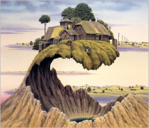 aestheticlust:  Jacek Yerka, Please Don't Slam the Door