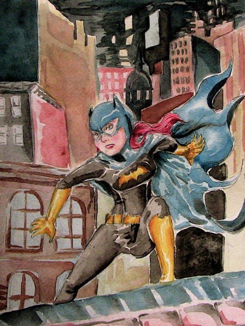 Batgirl watercolors. Did it a while ago. Bleh.