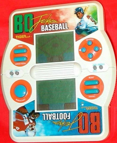 Did you ever play Tiger's handheld Bo Jackson football/baseball game? I don't think I did, but it looks familiar.  flipflopflyball:  Tiger Bo Jackson Football/Baseball (1990, LCD, 2 AA Batteries).