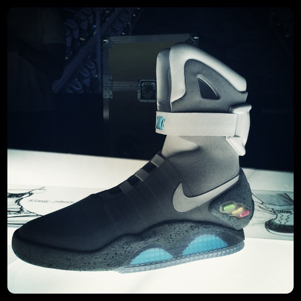 "minusmanhattan:  More on the Back to the Future II Nikes! ""Nike Air MAG. 1500 pairs. Auction only for MJF Parkinson's Foundation."" Apparently they go up for auction TONIGHT. Check out the Twitter feed here."