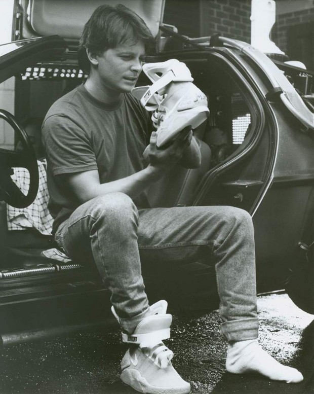 "More Info On Those Back To The Future Nikes NiceKicks.com is reporting that only 1500 pairs of the Nike Air Mags made famous in Back to the Future II will be released to the public starting tonight at 8:30 PST. They light up just like in the movie and are even rechargable with a battery that last 5 hours! But there's a catch: 150 pairs will be up for auction on eBay (nikemag.eBay.com) every day for 10 days. Whaaat!? You can't camp outside of eBay!!! But all this is for a good cause. All the net proceeds will go to the Michael J. Fox foundation. Not only that, but a grant was given to the foundation by Sergey Brin and Anne Wojcicki that will match all donations up to 50 million dollars. Michael J. Fox, the original Marty McFly himself says, ""This project is exciting to me because it brings together three  very passionate audiences: the Parkinson's community, the sneakerheads  and Back to the Future fans."" Michael J. Fox will appear on The Late Show with David Letterman tonight at 11:30pm PST to make a special announcement. Sooo… how much do you guys think these things will go for?"