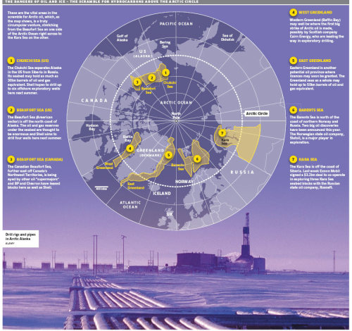 Infographic: 'The Dangers of Oil & Ice - The Scramble for Hydrocarbons Above the Arctic Circle' The infographic comes from the article, 'Unlocked by melting ice-caps, the great polar oil rush has begun', in the UK's Telegraph newspaper.