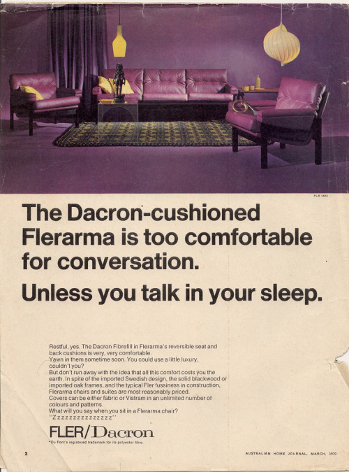 questionableadvice:  ~ Dacron Fibrefill advertisement, circa 1970'svia Flickr (click to enlarge)  I reckon this must be what Mrs Hudson's living room looks like. Vinyl armchairs AND purple, together at last!