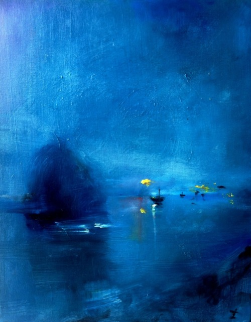 zucherman:  harbor in blue, for stacie. oil on canvas.  nan119:Tonight's dreamscape. Sweet dreams to all.