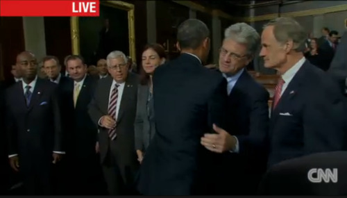 Obama and Tom Coburn have a tender moment.
