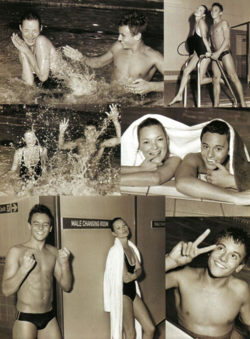 Kate Moss and Diving Champ Thomas Daley photographed by Bruce Weber for Vogue Italia, March 2010.