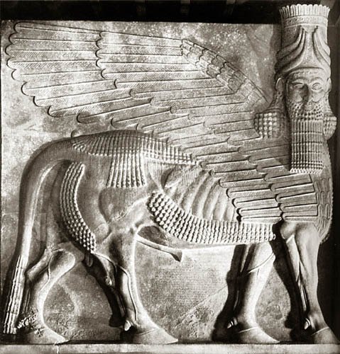 sinlesss:  A Lamassu, was a protective deity from Mesopotamian mythology, often depicted with a bull or lion's body, eagle's wings, and human's head. The lamassu was a household protective spirit of the common Babylonian people. Later during the Babylonian period it became the protector of kings. Statues were often placed at entrances and often used as gatekeepers.