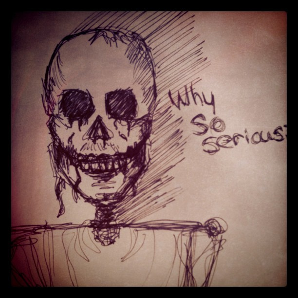 As I was drawing this, the skeleton started to resemble the Joker.