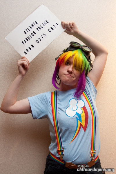 ablipintime:  Rainbow Dash was a fun one to wear. I hope I can find more photos—especially with Miri as my Applejack.  (Miri did a fantastic job on the shirt too, didn't she? Love ya, babe~.)  I love this shot. You make an awesome Rainbow Dash!