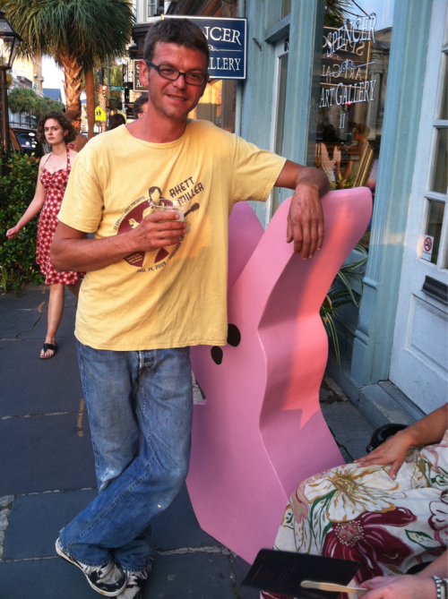 "New York Artist, Ryan Cronin with his ""Pink Peep"" statue outside of his solo show ""3's A Charm"" at SCOOP studios in Charleston, SC on Friday, September 2, 2011"