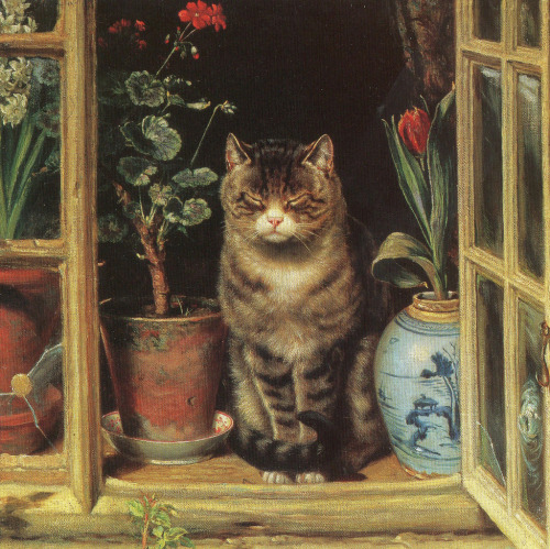 """Cat in a cottage window"", By Ralph Hedley (1848-1913)"