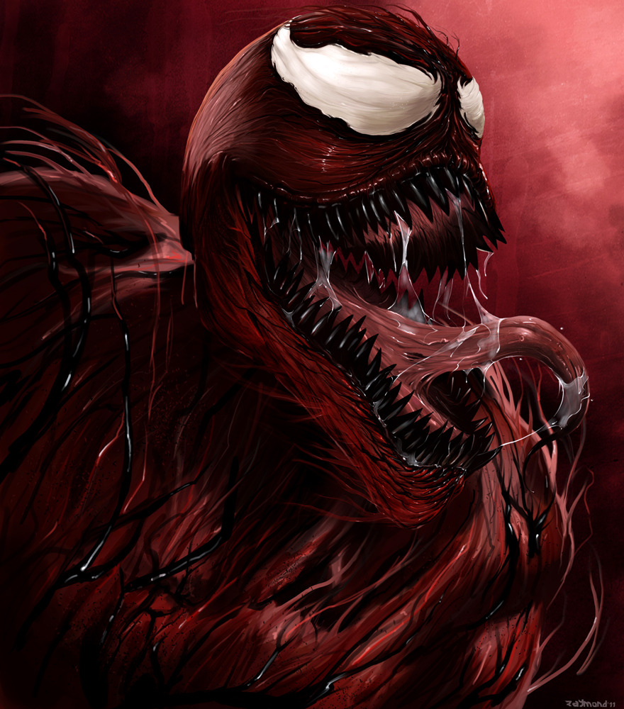 Comics | Carnage | Reblogged From >  justinrampage:  Carnage rules! Artist Raymond Ariola illustrated one of the more crazy / awesome Spider-Man villains for his new Marvel set. Carnage by Raymond Ariola / aerlixir